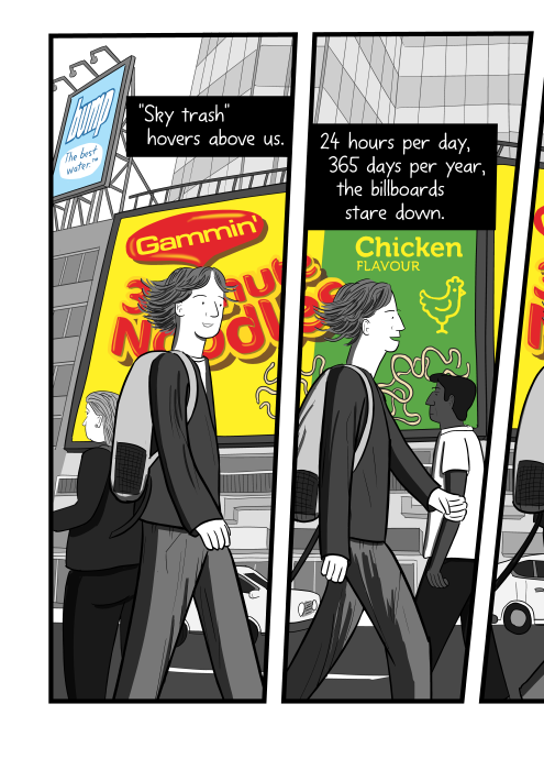 Cartoon of pedestrians walking in front of a building dominated by large billboards.