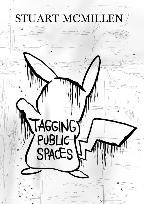Spray-painted pikachu graffiti parody of album art for