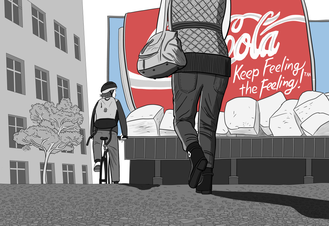 Drawing of cyclist and pedestrian walking away from viewer along deserted street, looking towards a huge Coca-Cola billboard on the side of a building.