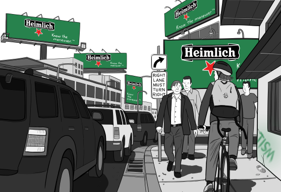 Illustration of street scene with cyclist riding along sidewalk beside banked up traffic, underneath large billboards. Cartoon of urban scene with pedestrians and bicycle rider near busy road.
