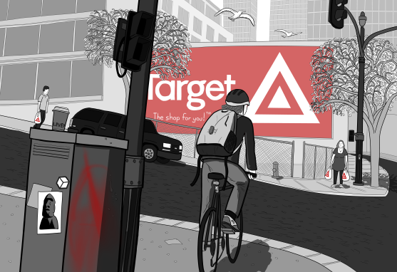 Drawing of a cyclist waiting at a set of traffic lights, waiting for the cross signals to change. Across the road, a large Target billboard dominates the wall of a building.