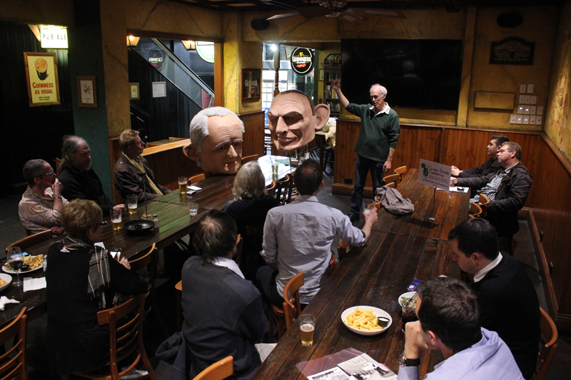 Green Drinks Canberra featuring political puppeteer Matthew Armstrong in September 2018
