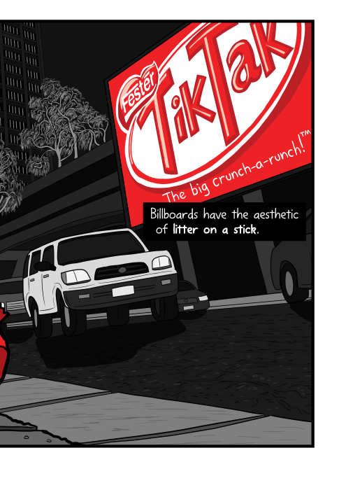 Cartoon large Kit Kat billboard behind downtown urban road illustration. Billboards have the aesthetic of litter on a stick.