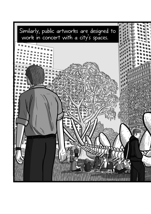 Rear view of cartoon man in downtown city park, showing trees and skyscraper buildings. Similarly, public artworks are designed to work in concert with a city's spaces.