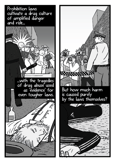 Artwork comparing drug overdose victim with dead alcoholic during prohibition.
