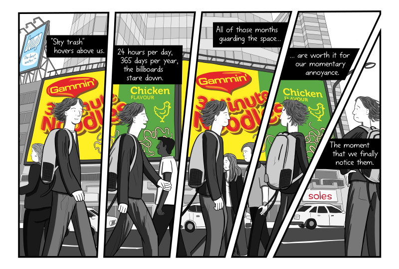 """Maggi Noodle scene from billboard comic """"The Crudest Form of Advertising"""". Showing one scene of """"Gammin' Noodles"""" broken into multiple panels, with multiple characters walking across scene."""