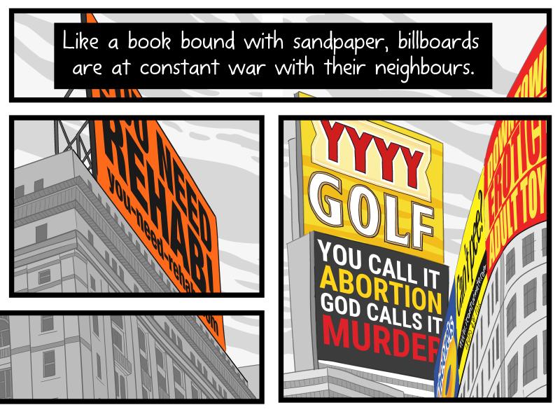 "Artwork detail: ""Litter on a Stick"" comic about billboards broken up into multiple panels."