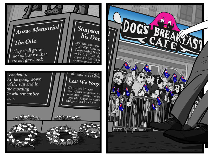 """Detail from the Anzac Day scene illustration, showing wreaths of flowers laid at the base of a war memorial statue, and the """"Dog's Breakfast Café"""" sign."""