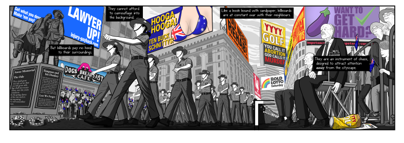 Stuart McMillen's Anzac Day parade scene as one unbroken horizontal scene, without panel borders breaking up the scene.