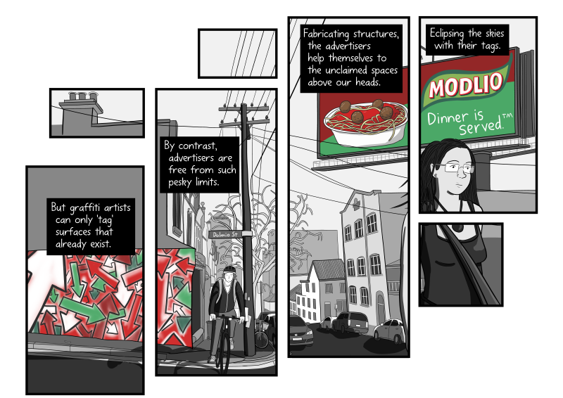 "Dolmio billboard scene from ""Tagging Public Space"" comic - a.k.a. Modlio pasta sauce."