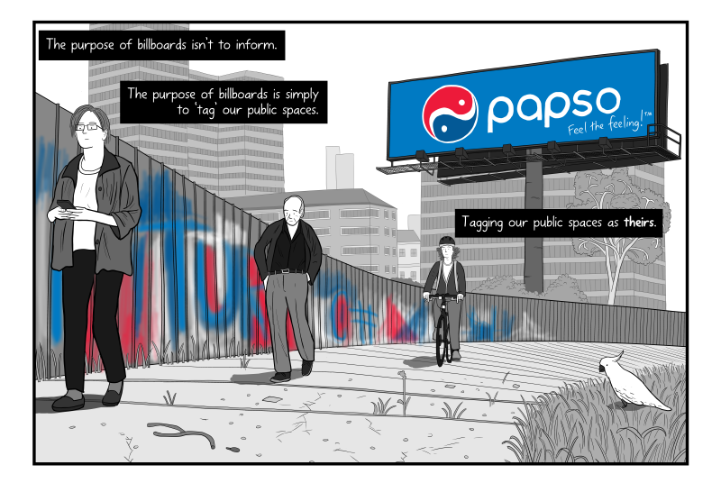 Cartoon criticising billboard advertising as claiming public space with eyesores.