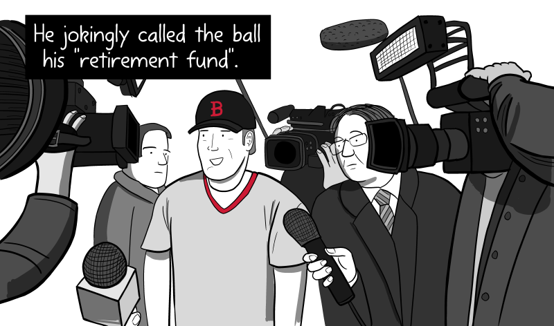 Doug Mientkiewicz jokingly called the ball his 'retirement fund' at a media conference