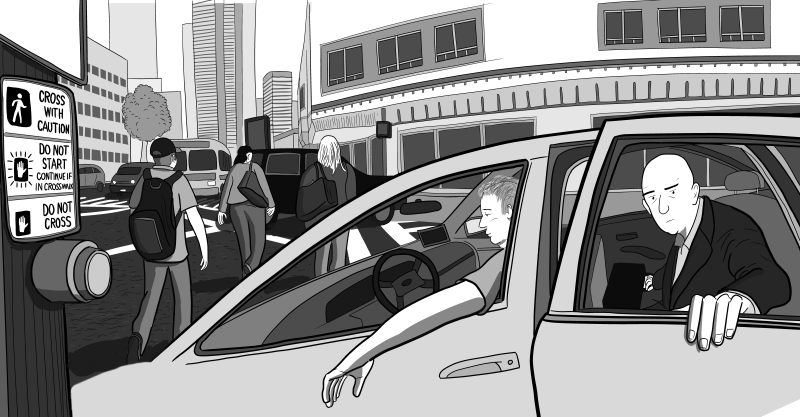Cartoon scene of businessman opening taxi door to exit a cab near crosswalk at downtown traffic lights