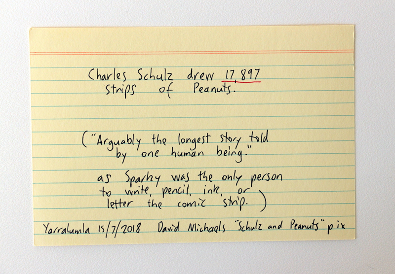 Charles Schulz drew 17,897 strips of Peanuts. David Michaelis quote about it being one of the longest-running stories ever told by a single human being.