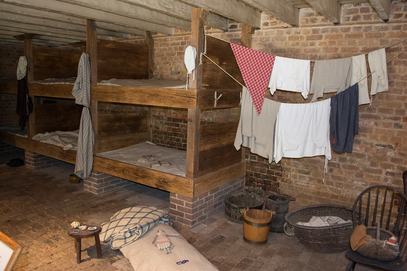 Inside slave cabin with washing hanging up
