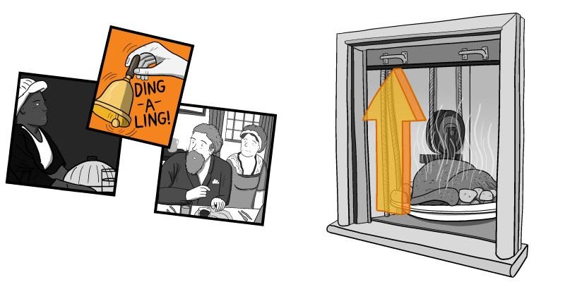 Cartoon dumbwaiter hatch opening, to reveal roast meal inside.