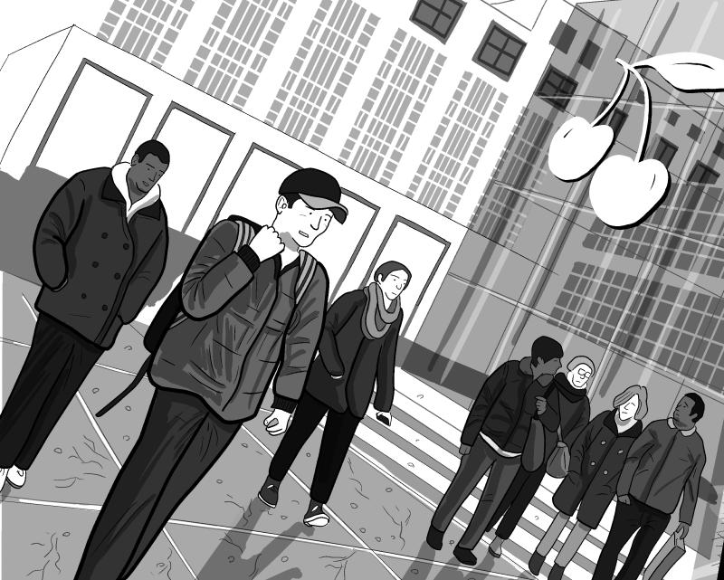 Cartoon people walking in modern city plaza on dutch angle.