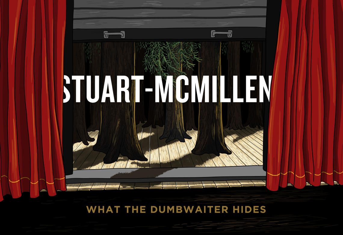 Stuart McMillen 'What the Dumbwaiter Hides' - parody of Sleater-Kinney 'The Woods' album cover, with trees behind red curtains