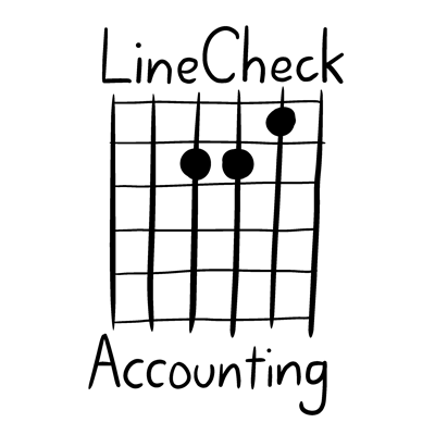 LineCheck Accounting logo - A minor chord guitar tab