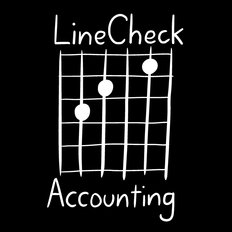 LineCheck Accounting logo - white text on black background
