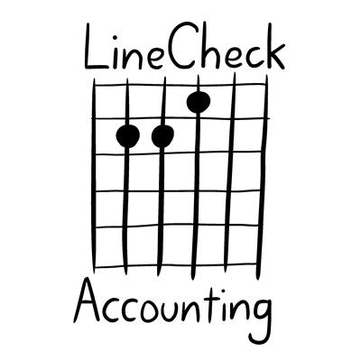 LineCheck Accounting logo - E chord guitar tab