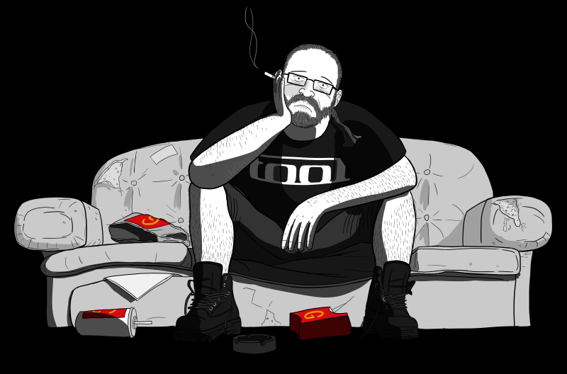 Drawing of unemployed man sitting on couch with McDonalds wrapping on floor near him.