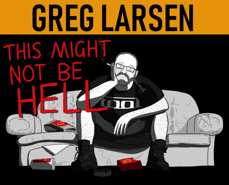 Draft version of Greg Larsen poster with handwritten text.