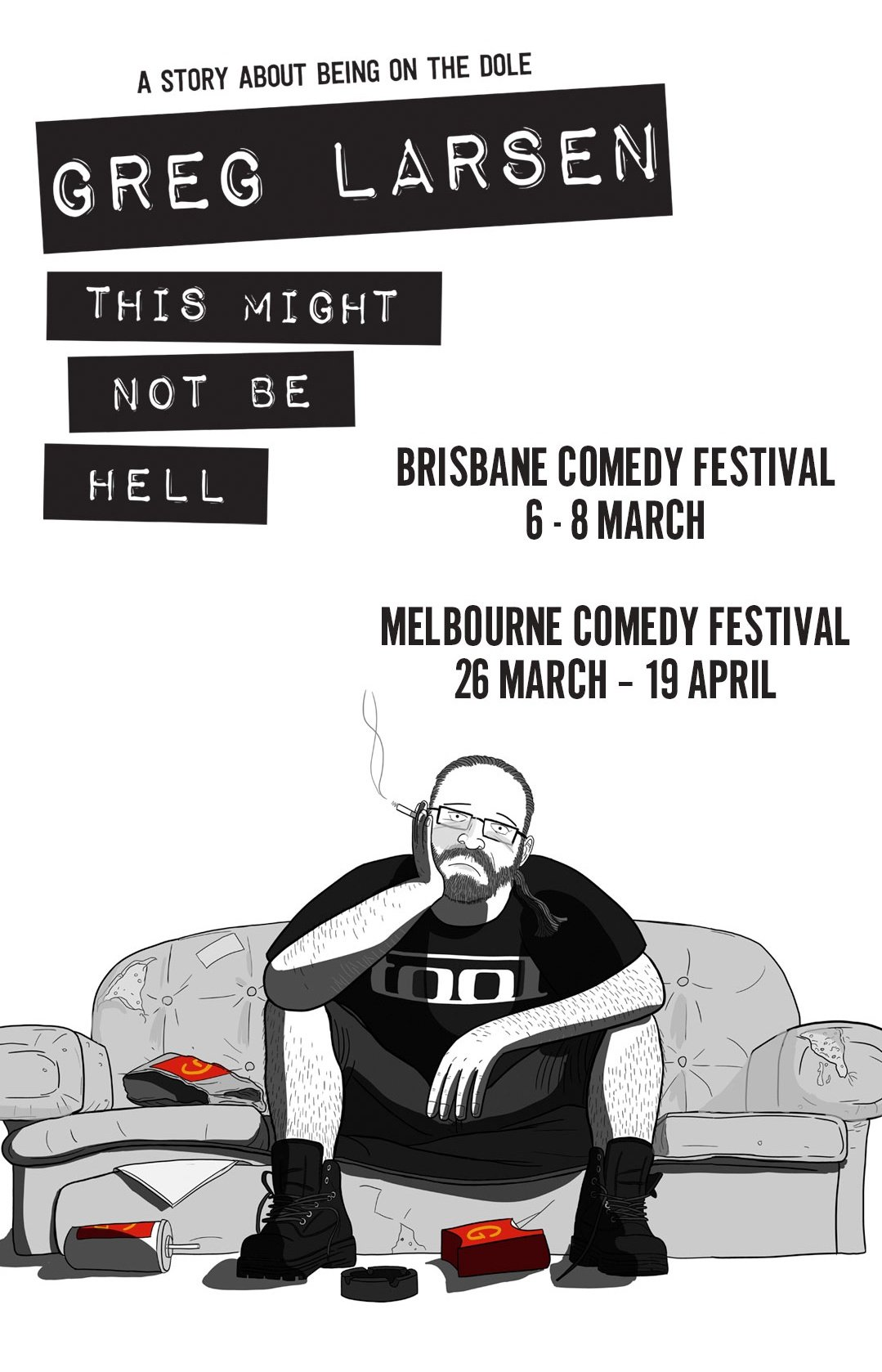 """Poster for Greg Larsen comedy show """"This Might Not Be Hell"""" at 2020 Melbourne and Brisbane Comedy Festivals."""