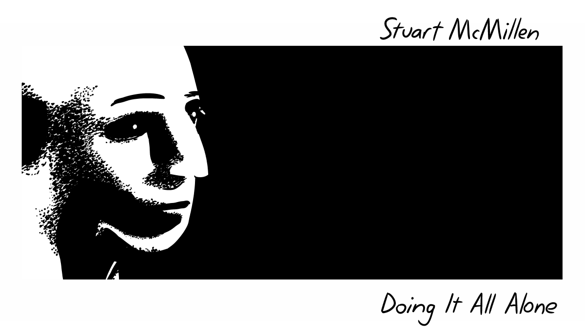 "Stuart McMillen - Doing It All Alone cover. Parody of Brian Eno's ""Before and After Science"" album cover."