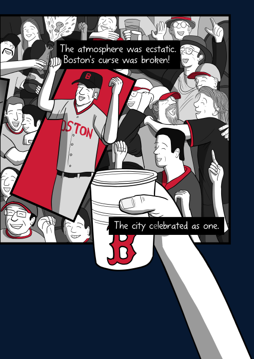The atmosphere was ecstatic. Boston's curse was broken! The city celebrated as one. Cartoon baseball fans celebrating in stadium stand.