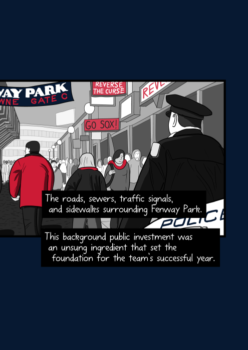 Baseball fans walking into Fenway park as police officer watches on. The roads, sewers, traffic signals, and sidewalks surrounding Fenway Park. This background public investment was an unsung ingredient that set the foundation for the team's successful year.