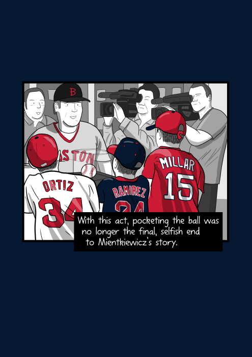 View of backs of young boys wearing Boston Red Sox team apparel. With this act, pocketing the ball was no longer the final, selfish end to Mientkiewicz's story.