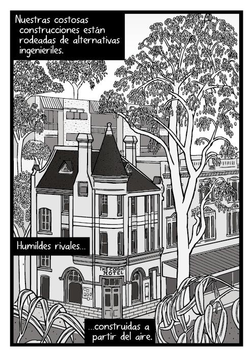 Dibujo de árboles de la ciudad al lado de edificios. Dibujo de un hotel rodeado de árboles. Nuestras costosas construcciones están rodeadas de alternativas ingenieriles. Humildes rivales construidas a partir del aire.