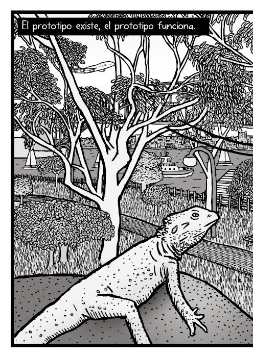 Dibujo de los eucaliptos del jardín botánico de Sídney. El prototipo existe, el prototipo funciona.
