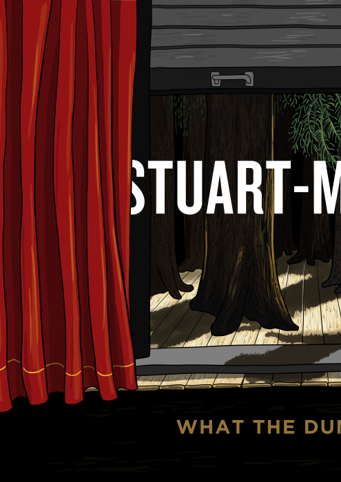 Red curtain revealing trees on stage. What the Dumbwaiter Hides comic title page.