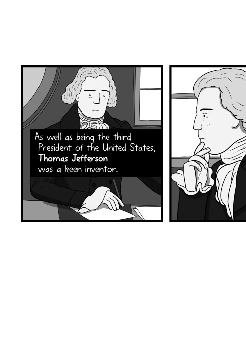 Cartoon of Thomas Jefferson writing at his desk. As well as being the third President of the United States, Thomas Jefferson was a keen inventor.