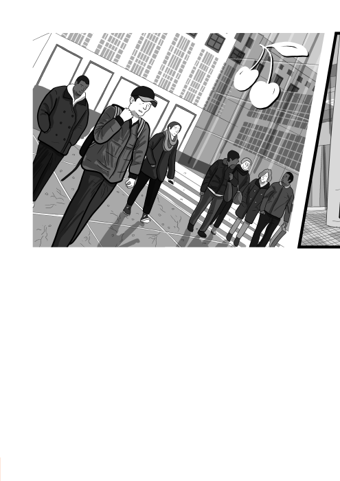 Cartoon drawing of shoppers walking in outdoor shopping precinct, wearing fashionable clothes near Apple store. Black and white illustration on a dutch angle by Stuart McMillen.