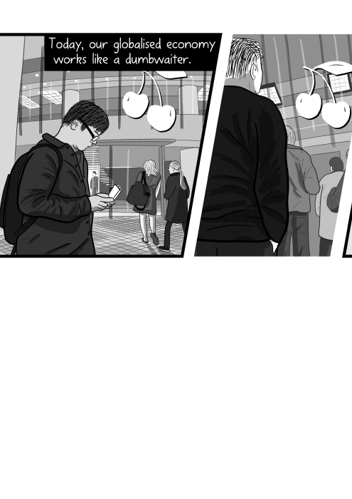 Black and white illustrations of shoppers outside apple store, waiting for store to open. Today, our globalised economy works like a dumbwaiter.