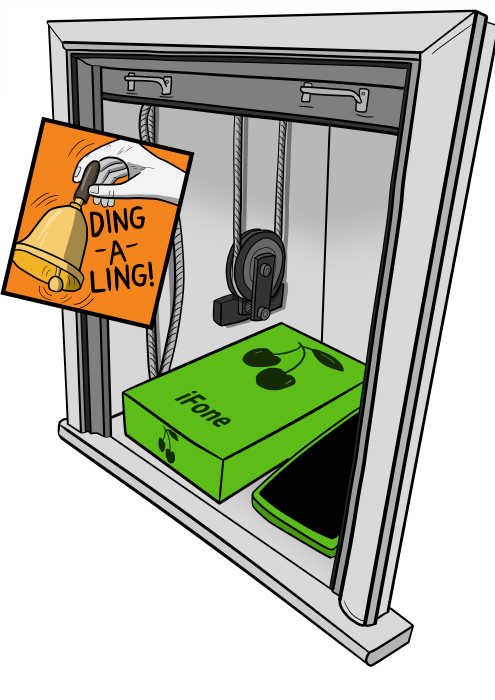Dumbwaiter with Apple iPhone box inside, with bell ringing with 'ding-a-ling!' text as the dumbwaiter door opens.