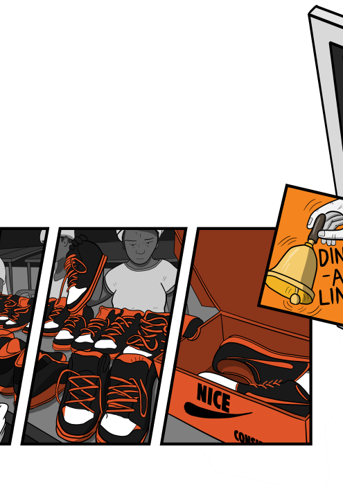 Cartoon comics art of Nike shoes factory, with workers on assembly line putting sneakers into shoeboxes.