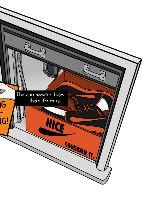 High angle view of sneakers inside shoe box, inside dumbwaiter. The dumbwaiter hides them from us.