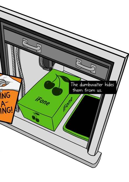 Cartoon iPhone box inside dumbwaiter. The dumbwaiter hides them from us.