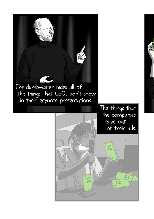 Cartoon Steve Jobs wearing turtleneck shirt giving a talk at produt launch. The dumbwaiter hides all of the things that CEOs don't show in their keynote presentations. The things that the companies leave out of their ads.