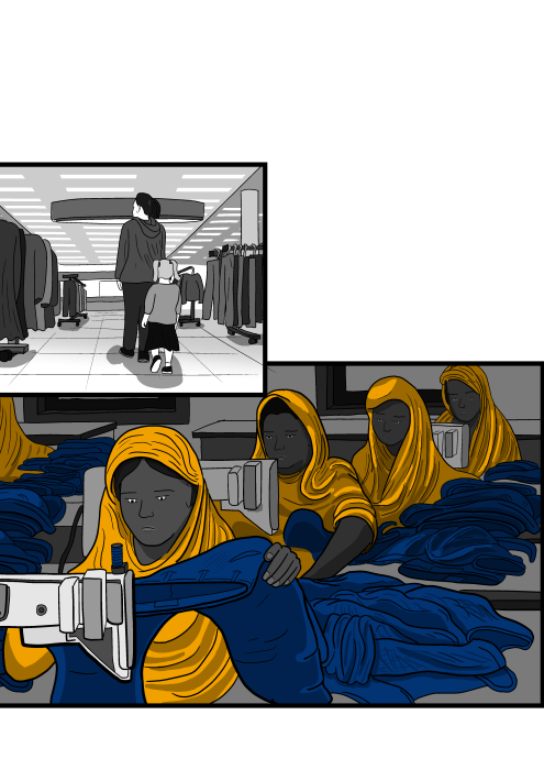 Drawing of rows of women working in sweatshop, sewing blue jeans together.