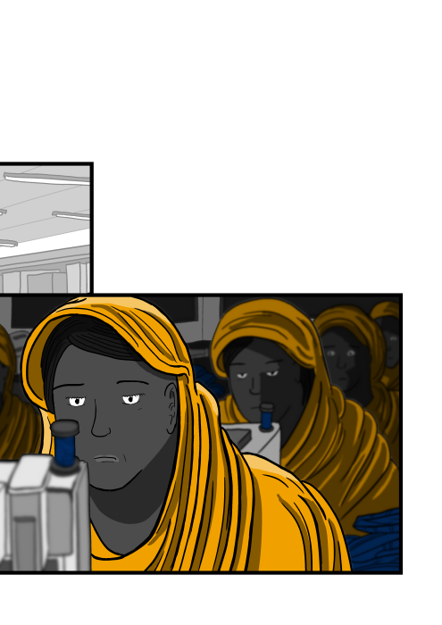Tired-looking women wearing headscarves looking at viewer - cartoon illustration. Drawing of women working inside sweatshop, lined up in a row.