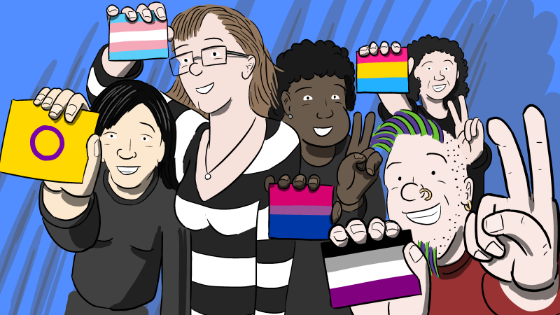 Cartoon of people holding up intersex flag, the transgender pride flag, the bisexual pride flag, the asexual pride flag, and the pansexual pride flag