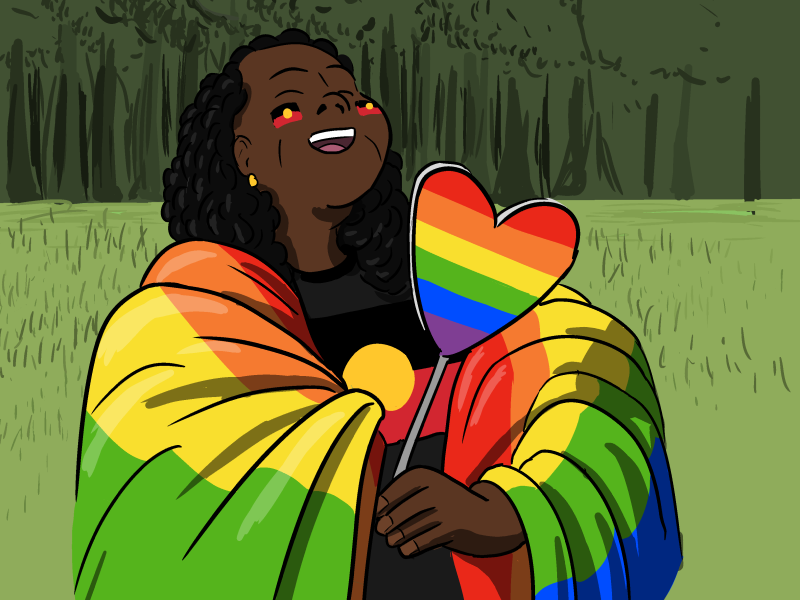 Cartoon woman draped in rainbow flag laughing with head thrown backwards