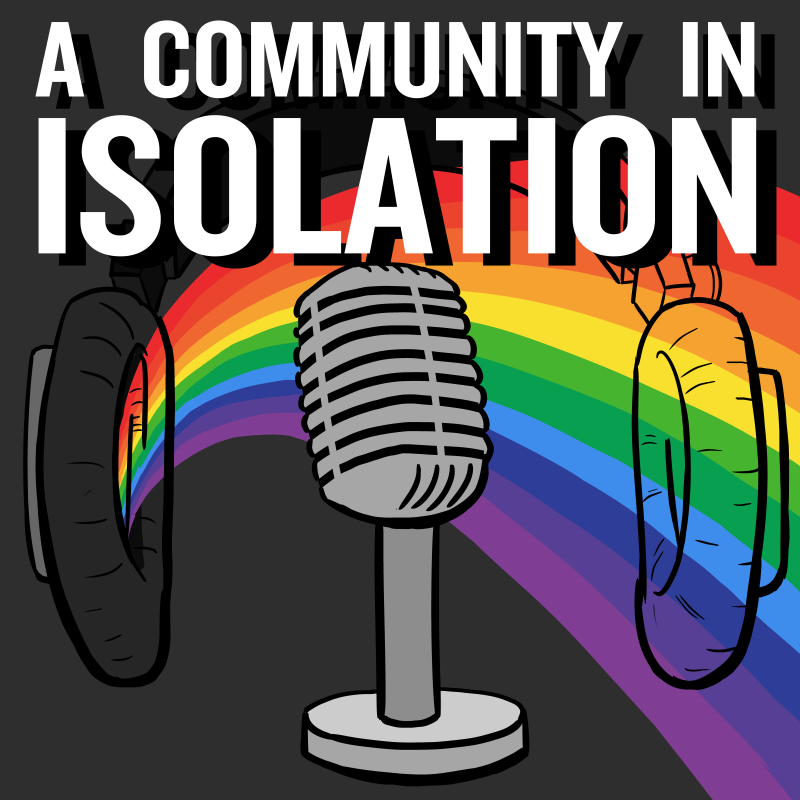 A Community in Isolation podcast logo, with text