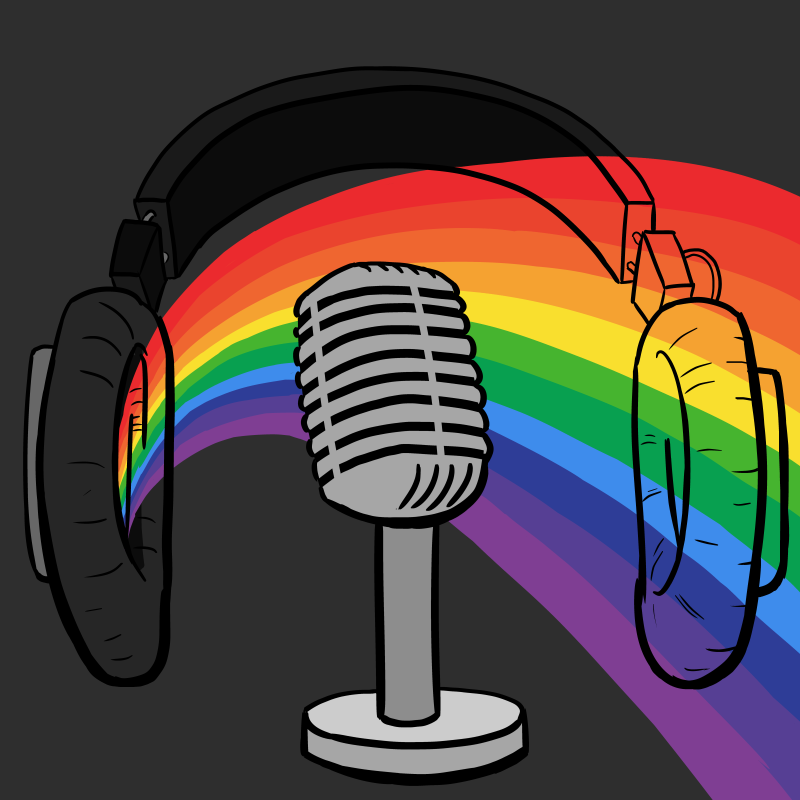 Podcast logo with rainbow light spectrum coming out of headphones, near an old-fashioned microphone