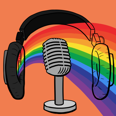 Podcast logo: rainbow coming out of headphones, with orange background